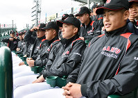 センバツ開会式リハーサルでグラウンドを見つめるおかやま山陽の選手ら=阪神甲子園球場で、益川量平撮影