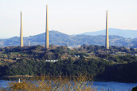 旧佐世保無線電信所(針尾送信所)の無線塔=長崎県佐世保市で、玉木達也撮影