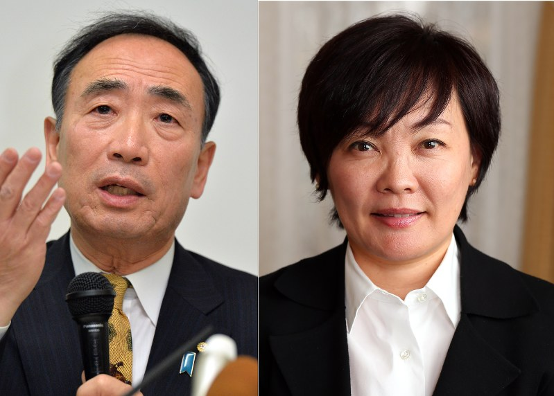 Yasunori Kagoike left and Akie Abe