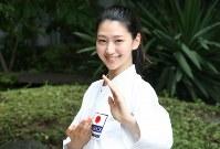 「TOKYO2020 オリンピック空手スペシャルアンバサダー」の是永瞳さん。「形の凛とした美しさが魅力」と語る=空手道マガジンJKFan提供