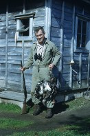 Oliver Austin is pictured in around 1947 with ducks to be preserved as stuffed specimens. (Copyright of Photography: Dr. Annika A. Culver, Curator of the Oliver L. Austin Photographic Collection)