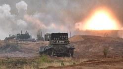 ロシアとベラルーシの軍事演習=ロシア北西部レニングラード州で2017年9月18日、杉尾直哉撮影