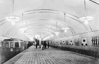 1935年ごろの大阪市営地下鉄心斎橋駅のホーム=大阪市交通局提供
