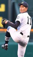【三重―星稜】三重先発の山本大=阪神甲子園球場で2018年4月1日、森園道子撮影