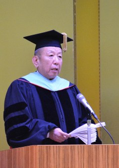 In this April 3, 2018 file photo, Kake Educational Institution head Kotaro Kake addresses new students at the Faculty of Veterinary Medicine of Okayama University of Science, in Imabari, Ehime Prefecture. (Mainichi)