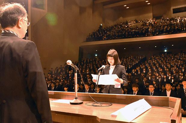 高知大:入学式 期待を胸に新たな一歩 「楽しい学生生活を
