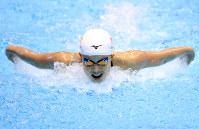 【競泳日本選手権】女子200㍍バタフライ決勝を制した持田早智=東京辰巳国際水泳場で2018年4月7日、梅村直承撮影