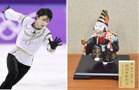 (Left) Yuzuru Hanyu performs during the men's free program at the Pyeongchang Olympics on Feb. 17, 2018. (Pool photo)   (Right) The