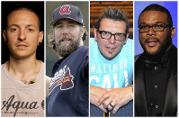 This combination of 2008-2017 photos shows Linkin Park co-lead vocalist Chester Bennington, Atlanta Braves pitcher R.A. Dickey, former NHL star Theo Fleury and film director Tyler Perry. (AP Photo)