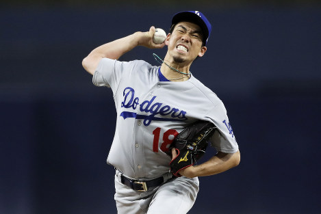 Los Angeles Dodgers starting pitcher Kenta Maeda works against a San Diego Padres batter during the first inning of a baseball game, on April 18, 2018, in San Diego. (AP Photo/Gregory Bull)