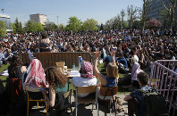 Students gather during a general assembly at Nanterre University, outside Paris, France, on April 19, 2018. (AP Photo/Michel Euler)