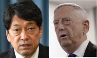 Japanese Defense Minister Itsunori Onodera (left,Mainichi) and  U.S. Defense Secretary Jim Mattis (AP)
