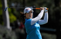 Moriya Jutanugarn, of Thailand, tees off on the 18th hole during the second round of the HUGEL-JTBC LA Open golf tournament at Wilshire Country Club, on April 20, 2018, in Los Angeles. (AP Photo/Mark J. Terrill)