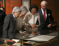 Sweden's King Carl XVI Gustaf, right, Queen Silvia, second from right, Japanese Emperor Akihito, left, and Empress Michiko, second from left, visit the Special Exhibition