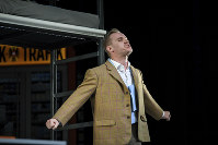 In this April 18, 2018 photo actor Peter Posniak in the role of Hitler performs during a rehearsal in Konstanz, Germany. (Felix Kaestle/dpa via AP)