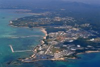 The coastal Henoko district of Nago, Okinawa Prefecture, site of a U.S. Marine Corps air station now under construction, is seen on April 19, 2018. (Mainichi)