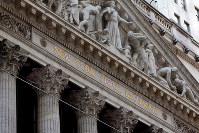 This April 5, 2018, file photo shows the facade of the New York Stock Exchange. (AP Photo/Richard Drew, File)