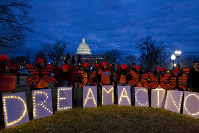 In this Jan. 21, 2018, file photo, demonstrators rally in support of Deferred Action for Childhood Arrivals (DACA) outside the Capitol Washington. (AP Photo/Jose Luis Magana)