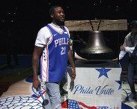Rapper Meek Mill comes out to ring a Liberty Bell replica before the first half in Game 5 of a first-round NBA basketball playoff series between the Miami Heat and the Philadelphia 76ers, on April 24, 2018, in Philadelphia. (AP Photo/Chris Szagola)