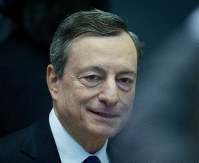 President of the European Central Bank Mario Draghi arrives for a news conference in Frankfurt, Germany, on April 26, 2018. (AP Photo/Michael Probst)