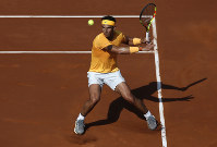 Rafael Nadal of Spain returns the ball to Guillermo Garcia Lopez during the Barcelona Open Tennis Tournament in Barcelona, Spain, on April 26, 2018. (AP Photo/Manu Fernandez)