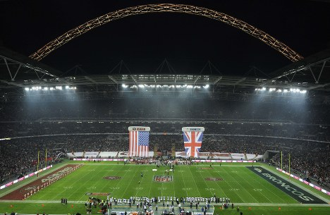 In this Oct. 31, 2010 file photo, the arena is seen ahead of the NFL Football match between the Denver Broncos and the San Francisco 49ers at Wembley Stadium in London. (AP Photo/Dave Shopland, Pool, File)