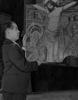A picture of Jesus Christ, which was presented by a priest in Paris, is seen at Oura Church in Nagasaki in 1952. (Mainichi)