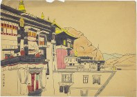 A detailed reproduction of Tashi Lhunpo Monastery indistinguishable from the original Hedin sketch by Junji Nishikawa. (Image courtesy of Kyoto University)