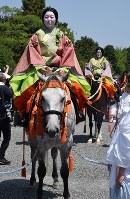 The Aoi Matsuri festival parade is seen in Kyoto's Kamigyo Ward on May 15, 2018. (Mainichi)