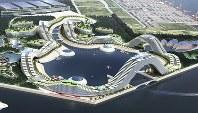 大阪湾の人口島「夢洲」でのIR整備のイメージ=関西経済同友会提供、2015年1月作成