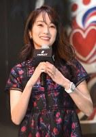 時計メーカーのサッカー日本代表関連イベントに登場した女優の高梨臨さん=東京都渋谷区で2018年5月16日午後1時57分、藤井太郎撮影