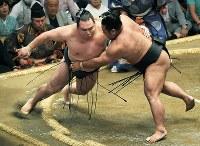 鶴竜を押し倒しで破った松鳳山(右)=東京・両国国技館で2018年5月16日、手塚耕一郎撮影