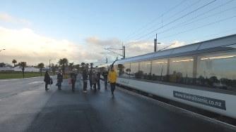 ウェリントンから北上9時間、ハミルトン駅に停車中のノーザン・エクスプローラー号(写真は筆者撮影)