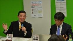 「東芝問題~社外取締役は役割を果たしたか」ゲストの中島茂弁護士(左)と今沢真・経済プレミア編集長