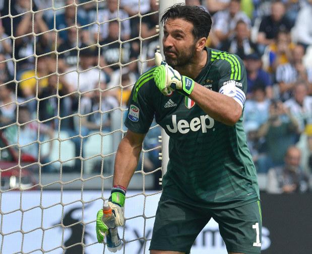 904af5fc8 Juventus goalkeeper Gianluigi Buffon gestures during the Serie A soccer  match between Juventus and Hellas Verona