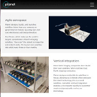 This screenshot of the Planet Labs Inc. website shows the company's Dove miniature satellites.