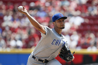 Chicago Cubs starting pitcher Yu Darvish throws in the second inning of a baseball game against the Cincinnati Reds, on May 20, 2018, in Cincinnati. (AP Photo/John Minchillo)