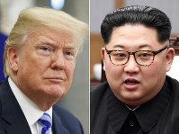 This combination of file photos shows U.S. President Donald Trump, left, in the Oval Office of the White House in Washington on May 16, 2018, and North Korean leader Kim Jong Un in a meeting with South Korean leader Moon Jae-in in Panmunjom, South Korea, on April 27, 2018. (AP Photo/Evan Vucci, Korea Summit Press Pool via AP)