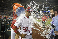 Washington Nationals' Juan Soto is doused after a baseball game against the San Diego Padres, on May 21, 2018, in Washington. (AP Photo/Nick Wass)