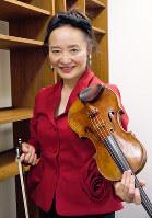 バイオリニストの前橋汀子=大阪市福島区で、田中博子撮影