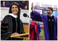 U.S. Ambassador to the United Nations Nikki Haley, left, gives the 2018 Commencement speech on May 10, 2018, in Clemson, South Carolina, and Canadian Prime Minister Justin Trudeau takes part in the procession prior to delivering the commencement address to New York University graduates at Yankee Stadium in New York on May 16, 2018. (AP Photo/The Canadian Press)