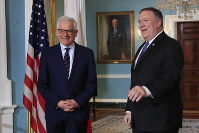 Secretary of State Mike Pompeo, right, meets with Polish Foreign Minister Jacek Czaputowicz at the State Department in Washington, on May 21, 2018. (AP Photo/Manuel Balce Ceneta)