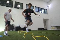 In this photo released by the Brazilian Football Confederation (CBF), Brazil's soccer player Neymar takes physical and medical tests at the Granja Comary training center ahead of the 2018 FIFA WCup, in Teresopolis, Brazil, on May 22, 2018. (Lucas Figueiredo/CBF via AP)