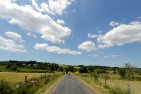 丘陵地帯に広がる牧草地のなかの道を歩く