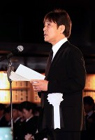 Singer Goro Noguchi gives a condolence speech at the funeral for Hideki Saijo at Aoyama Funeral Hall in Minato Ward, Tokyo, on May 26, 2018. (Pool photo)