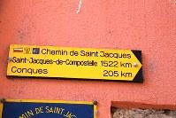 ル・ピュイ街に掲げられていた「サンティアゴまで1522キロ」の指導標