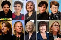 This photo combination shows the 10 highest-paid female CEOs for 2017, as calculated by The Associated Press and Equilar, an executive data firm. Top row, from left: Indra Nooyi, PepsiCo, $25.9 million; Debra Cafaro, Ventas, $25.3 million; Mary Barra, General Motors, $21.9 million; Phebe Novakovic, General Dynamics, $21.2 million; and Lynn Good, Duke Energy, $21.1 million. Bottom row, from left: Marillyn Hewson, Lockheed Martin, $20.2 million; Virginia Rometty, IBM, $18 million; Margaret Whitman, Hewlett Packard Enterprise, $14.8 million; Margaret Keane, Synchrony Financial, $13.5 million; and Heather Bresch, Mylan, $12.7 million. (AP Photo)
