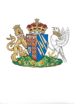 This generated image made available, on May 25, 2018 by Kensington Palace shows the newly created coat of arms of Meghan Duchess of Sussex. (Kensington Palace/PA via AP)