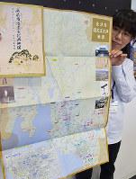 滋賀県長浜市内の447件の指定文化財の所在地を示した地図=同市八幡東町で、若本和夫撮影