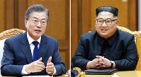 This combination of the May 26, 2018 provided May 27, 2018, by South Korea Presidential Blue House via Yonhap News Agency, shows South Korean President Moon Jae-in, left, and North Korean leader Kim Jong Un, right, during their meeting at the northern side of the Panmunjom in North Korea. Kim Jong Un and South Korean President Moon Jae-in met Saturday, May 26, for the second time in a month, exchanging a huge bear hug and broad smiles in a surprise summit at a border village to discuss Kim's potential meeting with U.S. President Donald Trump and ways to follow through on the peace initiatives of the rivals' earlier summit. (South Korea Presidential Blue House/Yonhap via AP)
